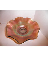 """Northwood Carnival Glass Stippled Rays Signed 8"""" Bowl Green - $14.99"""