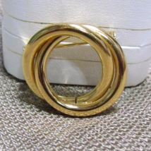 Vintage Gold Tone Double Circle Pin ~ Lapel, Collar or Scarf Pin - $10.39
