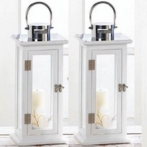 "2 Wood Lantern 19"" Tall White Silver Candle Holder Wedding Centerpieces - $67.57"