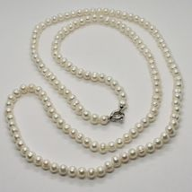 1 metre Long Necklace in 18k White Gold White Pearls freshwater Made in Italy image 5