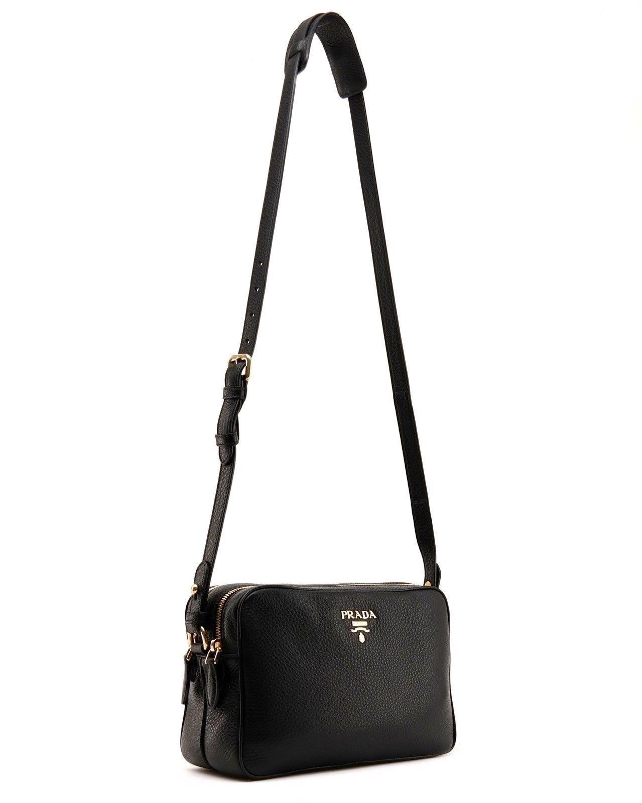 9bff47eb9836e5 Prada Croossbody Camera Bag Large Double Zip Black Leather New