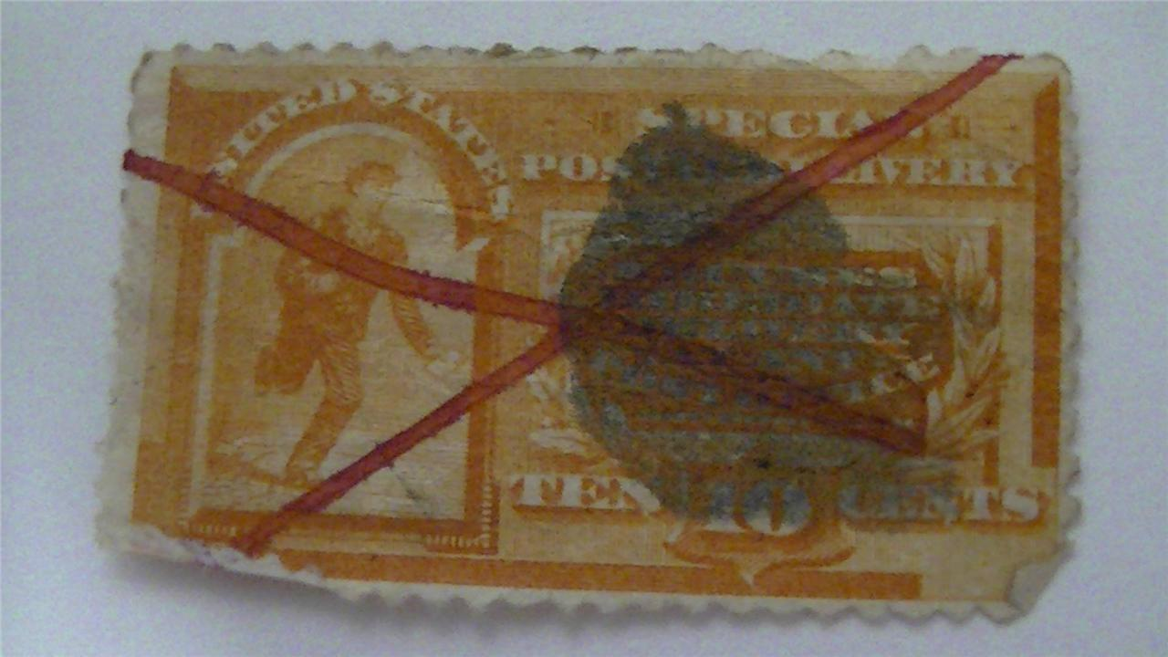 Old Special Delivery Orange Used USA 10 Cent Stamp