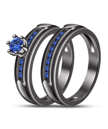 1.2 CTW Blue Sapphire Womens Bridal Ring Set 14K Black Gold Finish 925 Silver - $106.99