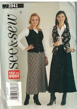 3941 Vintage Butterick SEWING Pattern Misses Close Fitting Lined Vest Skirt easy - $4.89
