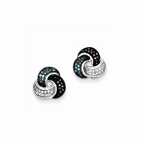 Primary image for Sterling Silver Rhodium Plated Blue/Black/White Diamond Earrings