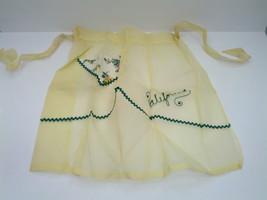 vintage handmade yellow organdy half apron rick rack California embroidered - $18.11