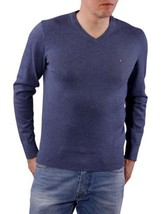 XL Tommy Hilfiger Men's Classic Sweater V-Neck Pullover Licensed Heather Blue