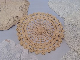 Assorted Antique Knit Doilies Set of 6 Various Sizes image 2