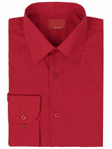 Men's Red Label Slim Stretch Muscle Fit Long Sleeve Solid Red Dress Shirt 3XL