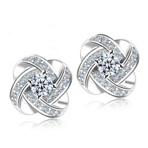 Jemmin Crystal Earrings 925 Sterling Silver Knot Flower Stud Earrings fo... - $11.99