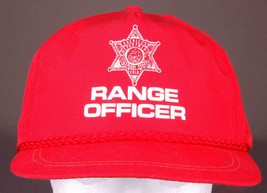 Vtg RANGE OFFICER Hat-Rope Bill-Leather Strapback-Red-Baseball Cap-Star-New - $31.78