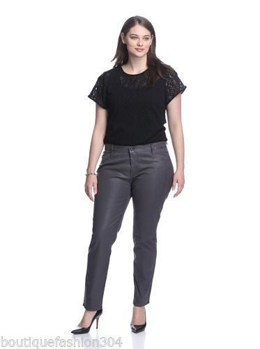 ccd3d086814 S l1600. S l1600. Previous. NWT New James Jeans Icon Plus Size Coated  Legging Leather Dark Gray 22 Metal