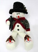 Mantle Snowman Plush Dangling Legs Black Felt Hat Holiday Winter Christm... - $14.84