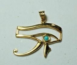 Egyptian carving Handmade Blue Eye Of Horus 18K Yellow Gold Pendant 5 Gr  - $545.63