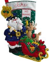 Bucilla Officer Santa Policeman Police Christmas Ticket Felt Stocking Ki... - $36.95