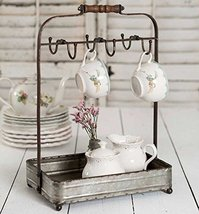 Vintage Rustic Galvanized Tabletop Mug Rack Tea Cup Hook basket Jewelry display image 7