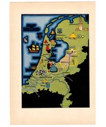 Vintage Art Map Holland Pictorial Graphic Art Print Suitable for Framing... - $14.99