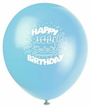 "Baby Blue Birthday Cake 8 Ct Latex 12"" Balloons - $3.29"