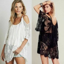 Women Bathing Suit Cover up, Beach Bikini Swimsuit,Off-Shoulder Lace Swi... - $24.95
