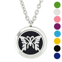 AZORA Butterfly Stainless Steel Essential Oils Diffuser Necklace Magneti... - €8,57 EUR