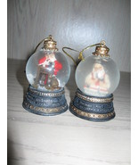 Norman Rockwell Glass Water Globe Christmas Qty 2 Ornament 1980's - $9.95