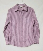 Riders by Lee Easy Care Women's Purple Striped Button Front Shirt Size Small - $7.93