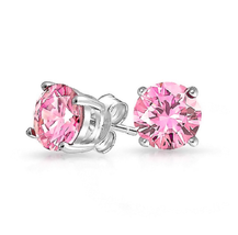 Sterling Silver 7mm Pink CZ Stud Earrings Round Brilliant Cut Basket Set... - $11.87