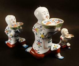Herend Porcelain Chinese Kneeling Salt Cellars, 3 pcs., C---5651, 5652, ... - $695.00