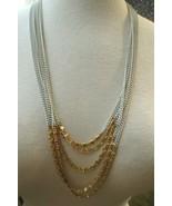 Monet Necklace Multi Chain Designer Gold Plated White Enamel Links Knob ... - $32.66