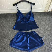 2pcs Navy Satin Sleepwear Sexy Lingerie V-neck Gecelik Lacy Backless Paj... - $24.70