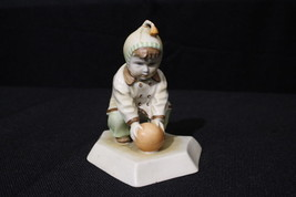 ZSOLNAY Hungarian Porcelain Child Playing With Ball Figurine, Signed - $49.99