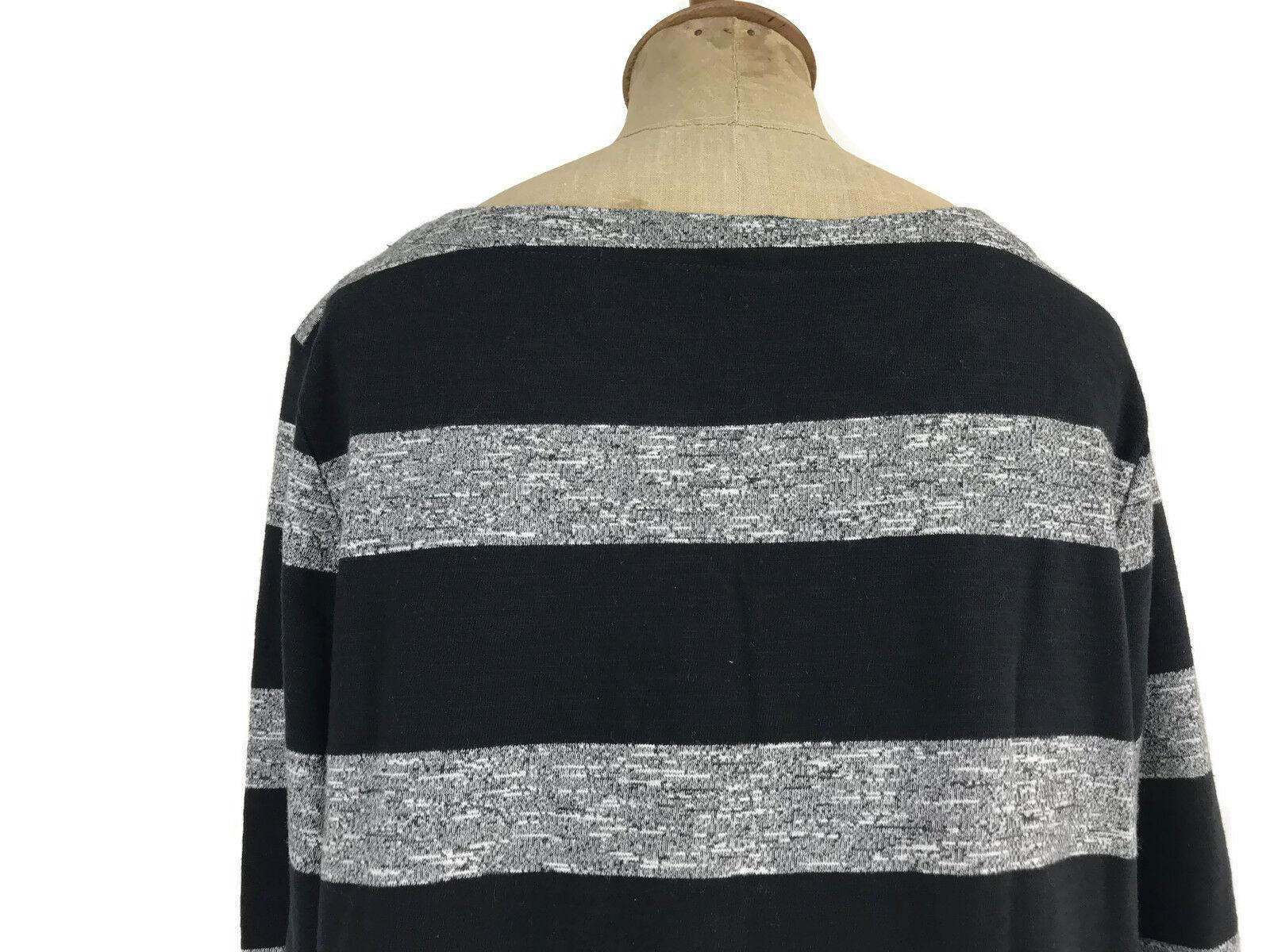 J. Crew Factory Dress Black Gray Stripe Boatneck 3/4 Sleeves Style 02665 Sz L U1 image 5