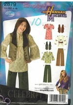 2879 Vintage Simplicity Sewing Pattern Girls Pants Dress Top Vest Hannah Montana - $6.91