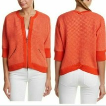 CAbi Cocoon Cardigan Womens Medium Orange Sweater Zip Jacket Cardigan 3/... - $17.81
