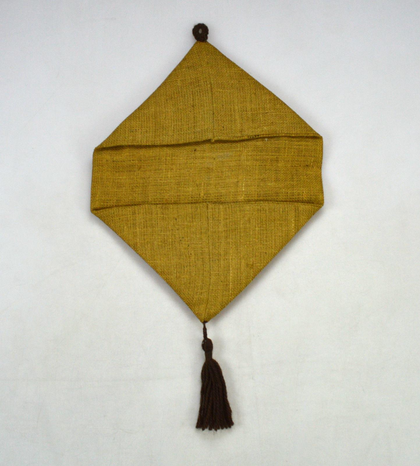 Vintage Owl Rug Knot Knit Plush Tapestry Burlap Outsider Primitive Wall Hang Art