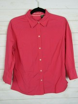 Eddie Bauer Womens Long Sleeve Hot Pink Button Up Blouse Size M  W993 - $11.99