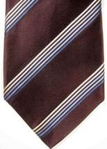 NEW Ermenegildo Zegna Brown With Blue & Silver Stripes Silk & Cotton Tie - $63.73
