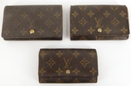 Authentic LOUIS VUITTON Monogram canvas Tresor 3P Set Bifold Wallet Fran... - $250.00