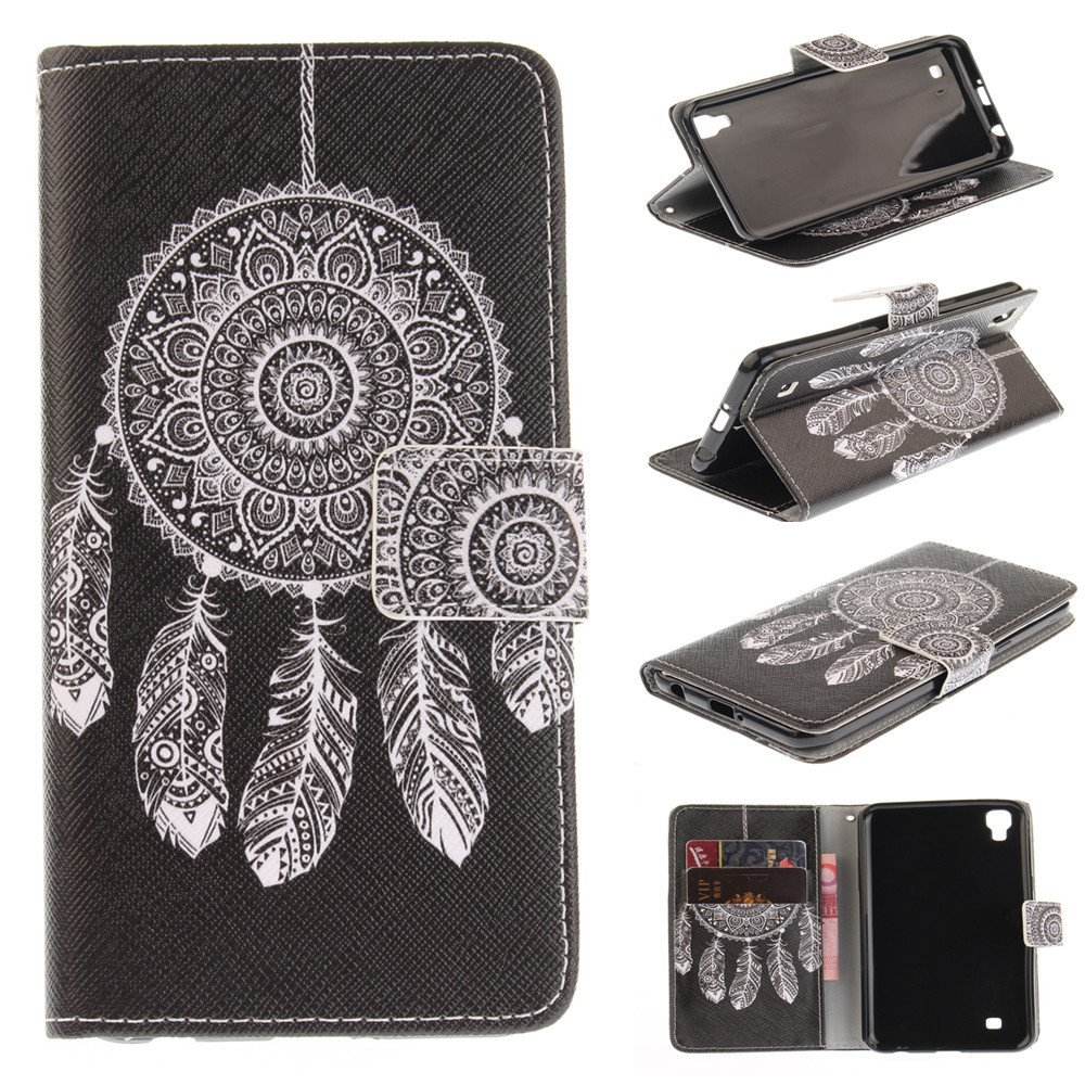 LG X Power Case,LG K6P Case,LG K210 Case,XYX [Black Dreamcatcher] PU Leather Wal