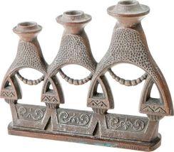 Vintage 3 Branch Heavy Metal Candlestick Candle Holder Aztec Children Signed image 5