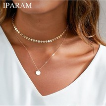 X130 Boho Multilayer Necklace Gold Color Coin Chokers Necklace Women Bea... - $9.71
