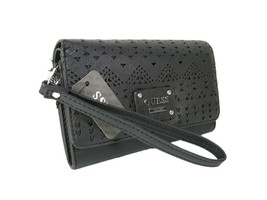 Guess Logo Wristlet Purse Hand Bag Black Silver Galveston Perforated Wal... - $44.54