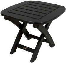 Patio Side Table 21 in. x 18 in. Stain Resistant UV Protected Charcoal B... - $171.57