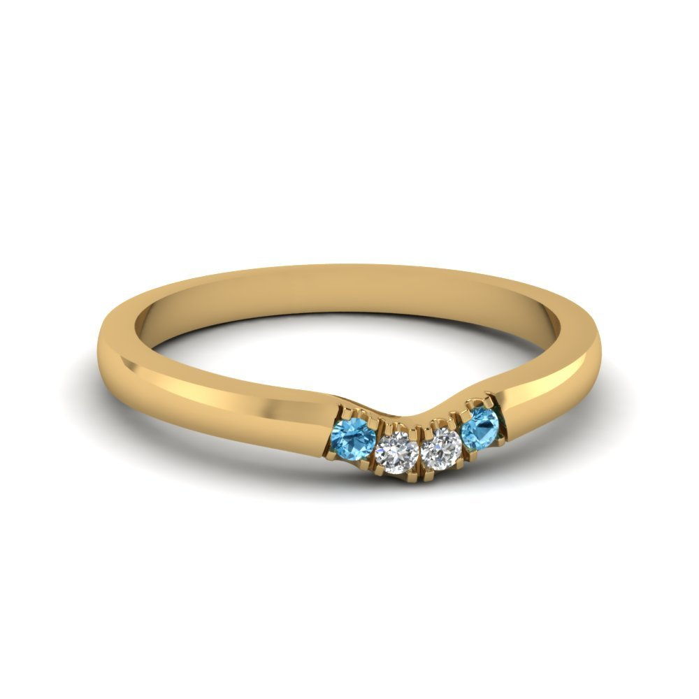 Primary image for Classic Blue Topaz & CZ Diamond 14K Yellow Gold FN Curved Wedding Band Ring