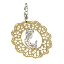 Pendentif Médaille, or Jaune Blanc 750 18k, Vierge Marie, Fleur, avec Cadre image 1