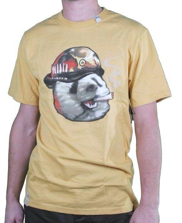 LRG Men's Warrior Yellow Pandemic Panda Army Military T-Shirt NWT