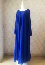 COBALT BLUE Plus Size Long Chiffon dress Gowns Prom Dress Long Sleeve Dresses image 3