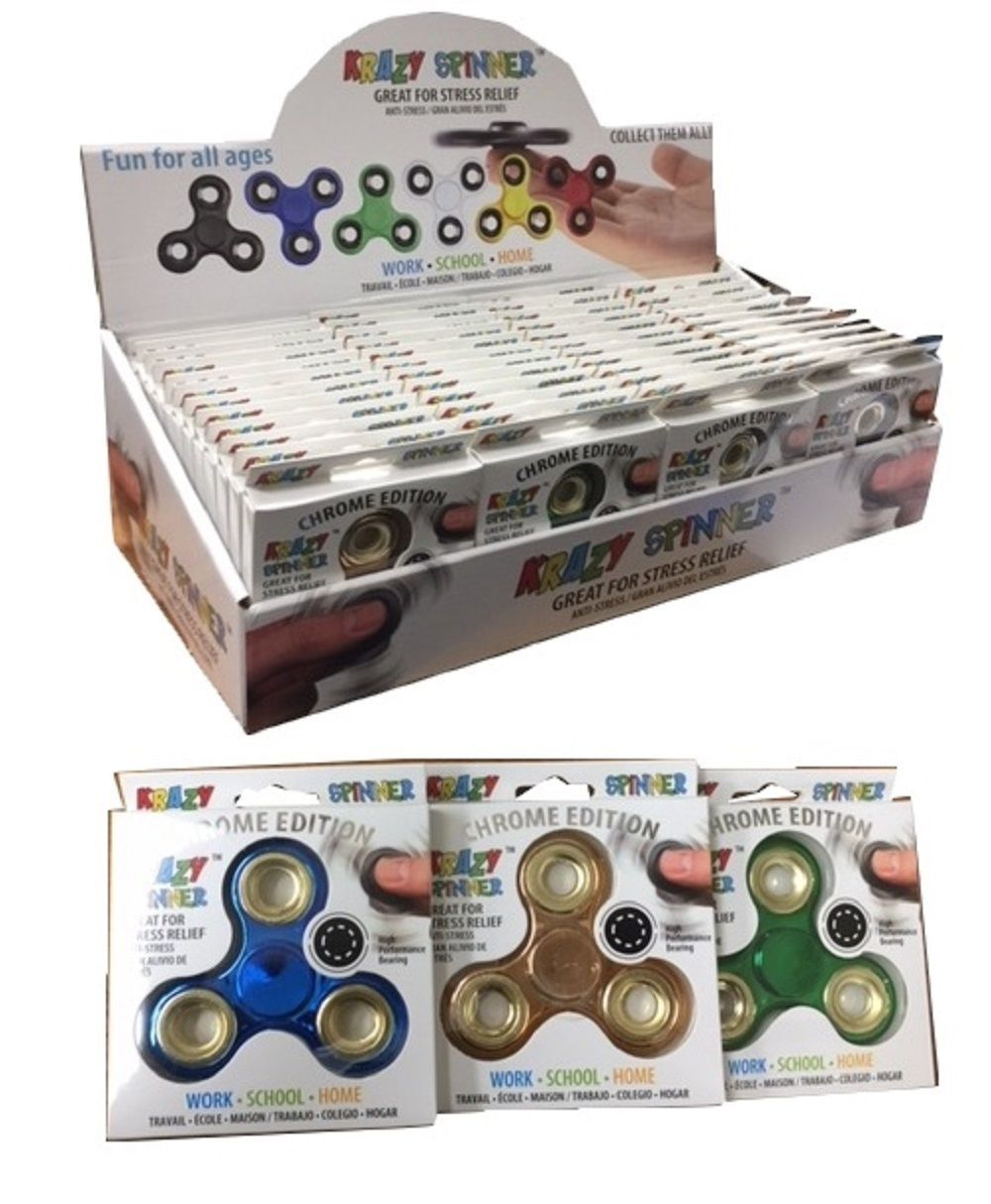 Limited Metallic Chrome Edition Fidget Spinner - 1x w/Random Color and Design