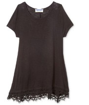 Takeout Girls' Lace-Hem Pullover T-Shirt, Black, Size S, MSRP $34 - $14.01