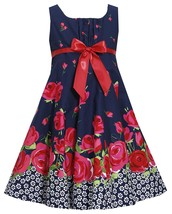 Bonnie Jean Little Girl 2T-6X Navy Blue Red Floral Border Fit Flare Dress